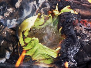 Boiling Water In A Cabbage Leaf