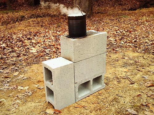 Survivaltek four concrete block rocket stove for 4 block rocket stove