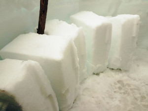 Snow Block Quarry Inside Igloo