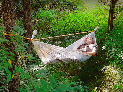 Improvised Tyvek Hammock