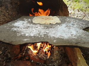 Stone Fireplace Cooking Bannock